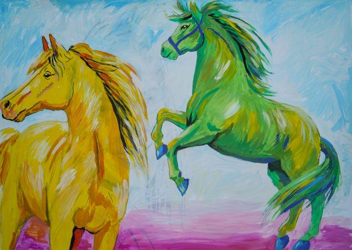Yellow And Green Horse - Juhan Rodrik