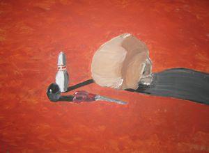 Skull with Orange Background - Dada