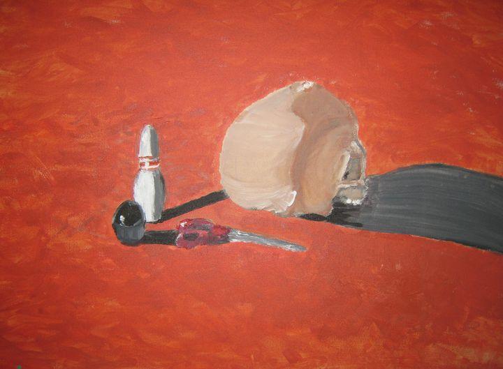 Skull with Orange Background - Dada - Reilly's Fine Art & Designs