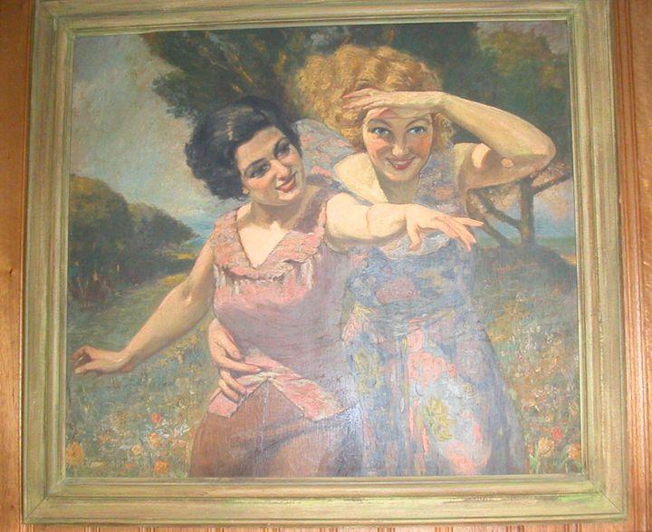 Deux Femmes dans le Parc - Agemian paintings