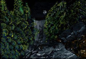 midnight waterfall.