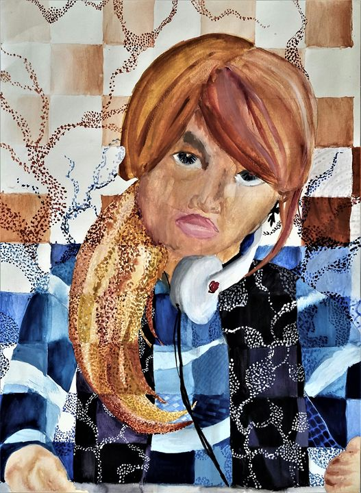 Self Portrait Mirrored - Jazzy Bear Arts