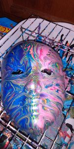 Two-Faced dripped mask painting
