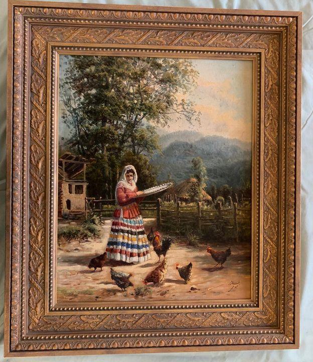 Farm Girl feeding chickens by Arazi - PaintingsByMiki