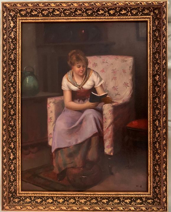 Girl reading book by M. Afrazi - PaintingsByMiki