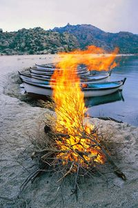 flames by the lake