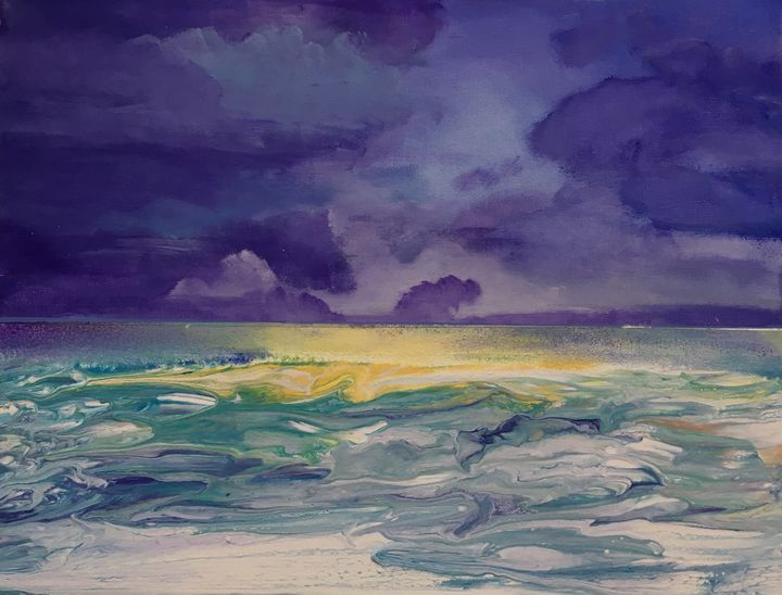 Purple evening sea - Zuzanna Pankowska