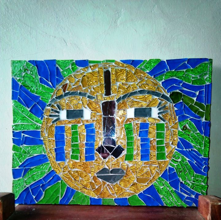 Sunshine Fantasy Face Mosaic - Daaf Glass And Interior