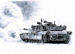 A M1 Abrams Main battle tank firing