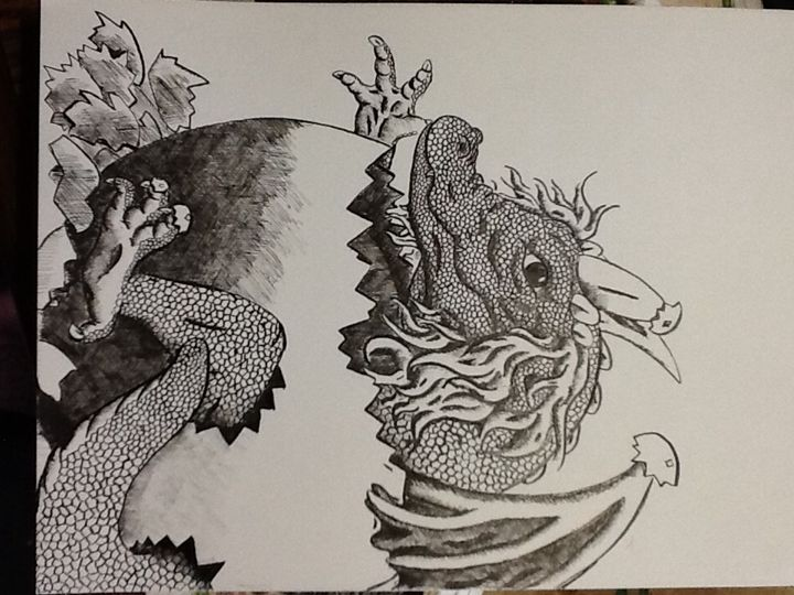 Baby dragon hatching - Animal art