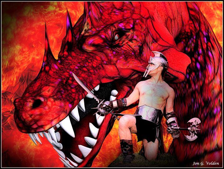 Gladiator vs Dragon - DunJon Fantasy Art