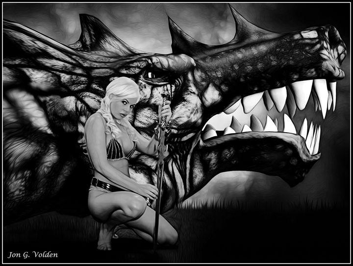 Dragon Slayer B&W - DunJon Fantasy Art