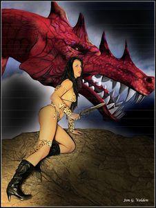 The Amazon And The Dragon - DunJon Fantasy Art