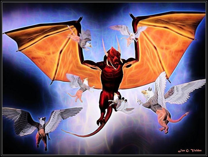 Dragon vs Griffins - DunJon Fantasy Art