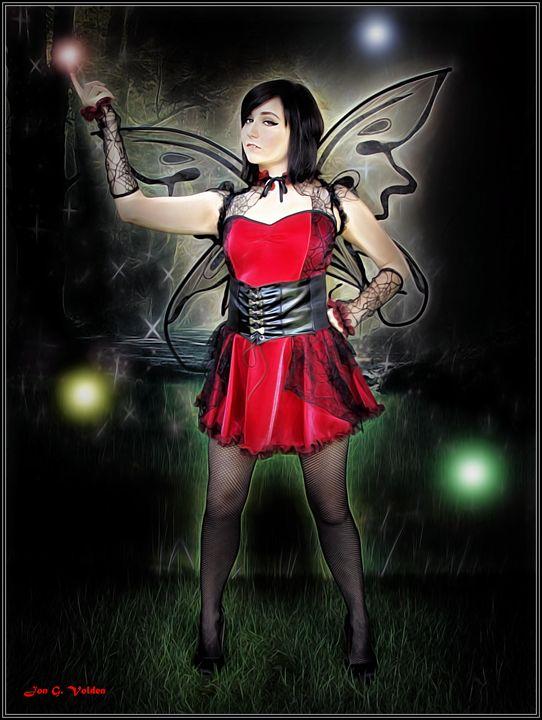 Red Fairy And Lights - DunJon Fantasy Art