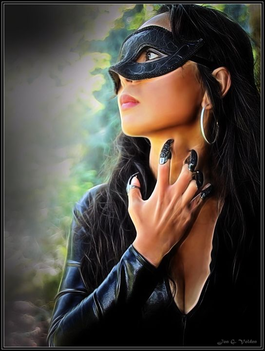 Portrait Of A Thoughtful Cat Woman - DunJon Fantasy Art