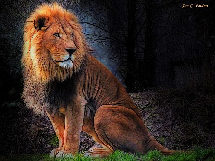 The Lion Sits Alone - DunJon Fantasy Art