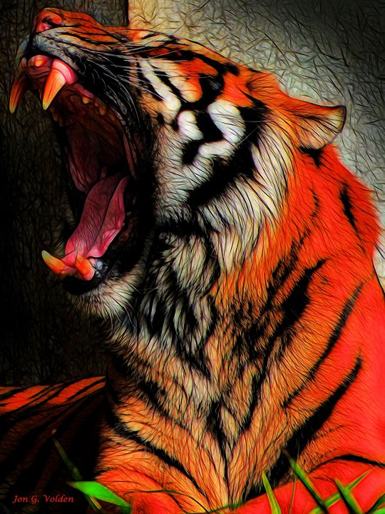 Impression of a Yawning Tiger - DunJon Fantasy Art