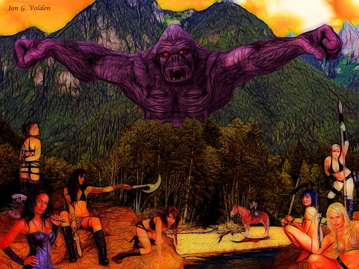 Kong vs The Amazons - DunJon Fantasy Art