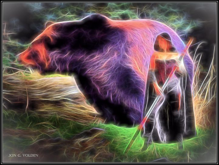 Mystic Bear and Druid - DunJon Fantasy Art