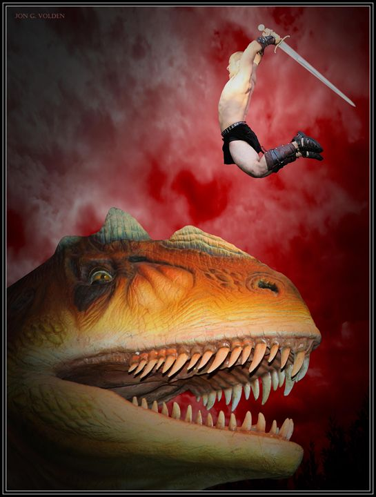 T-Rex Slayer - DunJon Fantasy Art