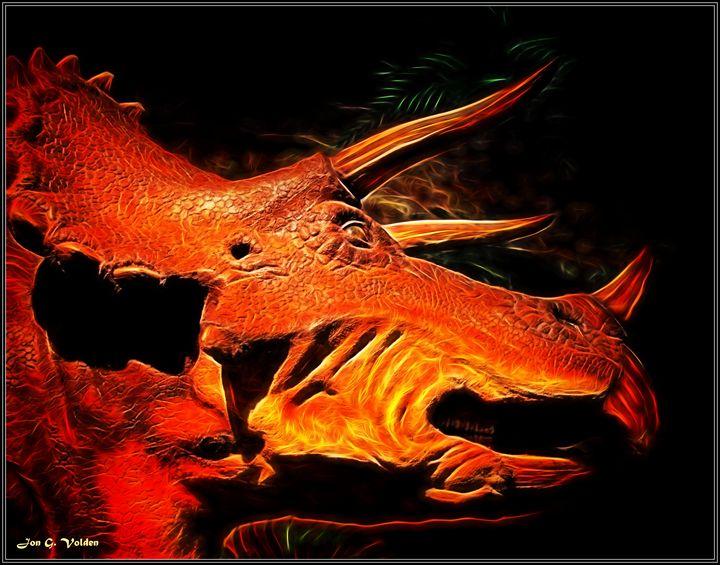 Portrait of A Triceratops - DunJon Fantasy Art