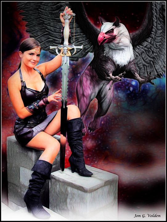 Xena And The Griffin - DunJon Fantasy Art