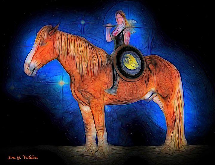 Amazon On A Horse - DunJon Fantasy Art