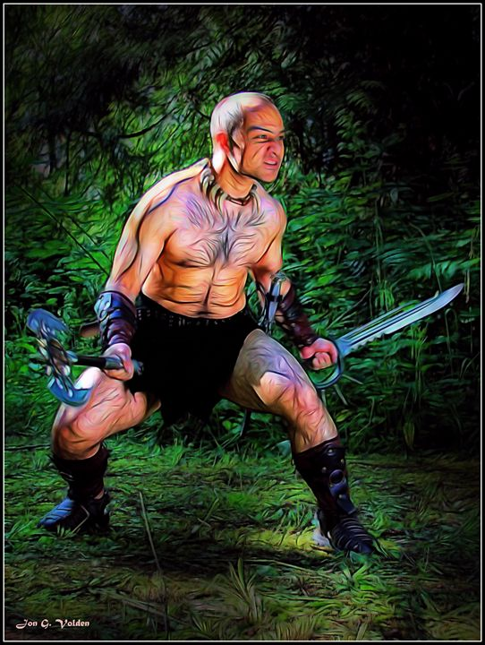 Impression Of A Craze Barbarian - DunJon Fantasy Art