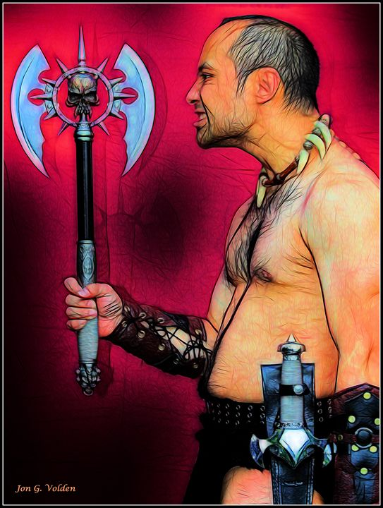 Barbarian With His Axe - DunJon Fantasy Art