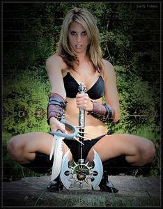 Heorine With Sword And Ax - DunJon Fantasy Art