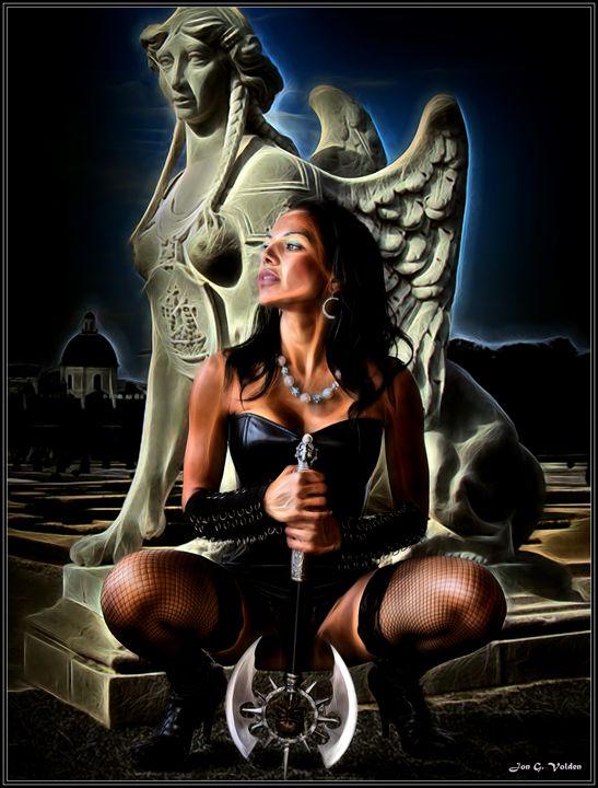 Ax maiden and the statue - DunJon Fantasy Art
