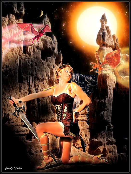Pseudo Dragons And The Warrior - DunJon Fantasy Art