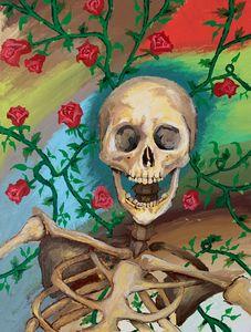 Skeleton in rose garden