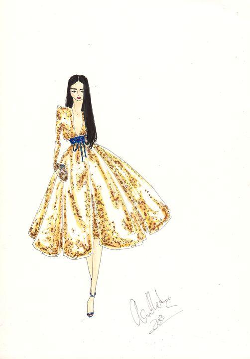 Gold Sequins - Alex Newton Fashion Art