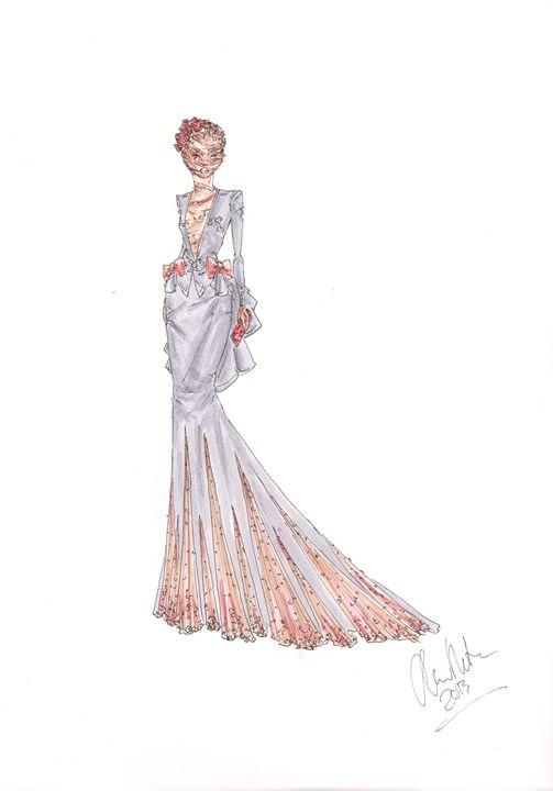 Evening Gown Fashion Illustration - Alex Newton Fashion Art