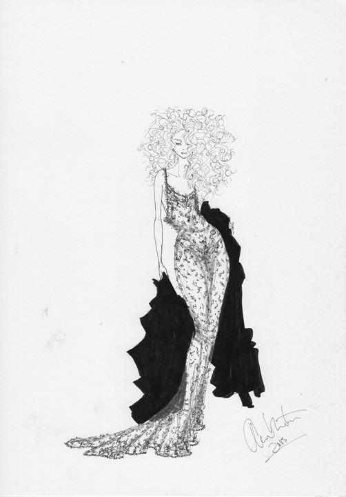 Lace Dress Fashion Illustration - Alex Newton Fashion Art