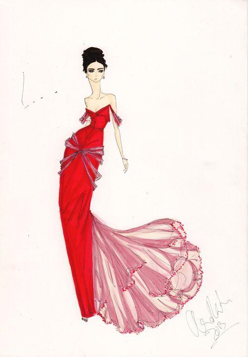 Red Dress Fashion Art - Alex Newton Fashion Art