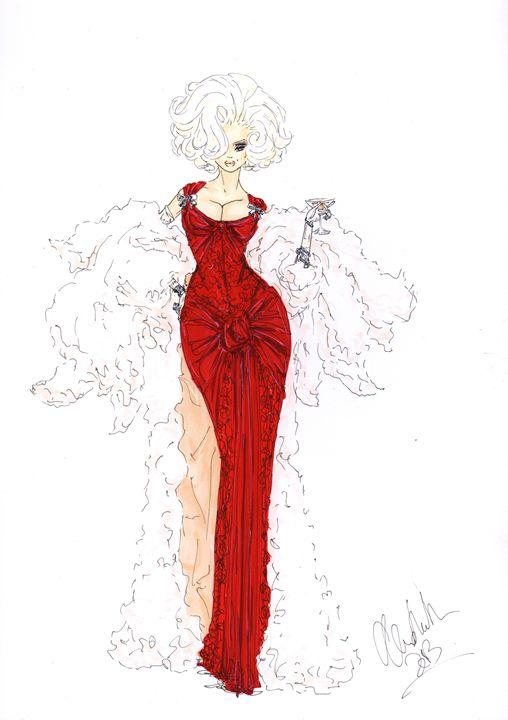 Fashion Illustration Lady in Red - Alex Newton Fashion Art