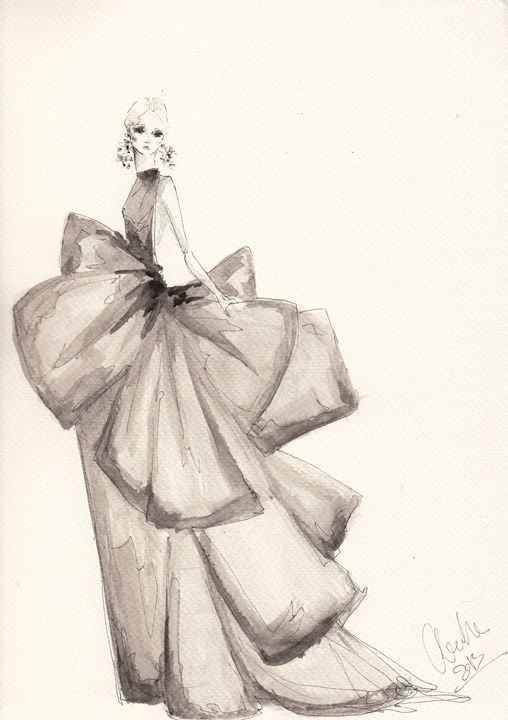 Fashion Drawing Big Bows Illustratio - Alex Newton Fashion Art