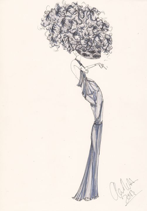 Fashion Illustration Blue Willow - Alex Newton Fashion Art