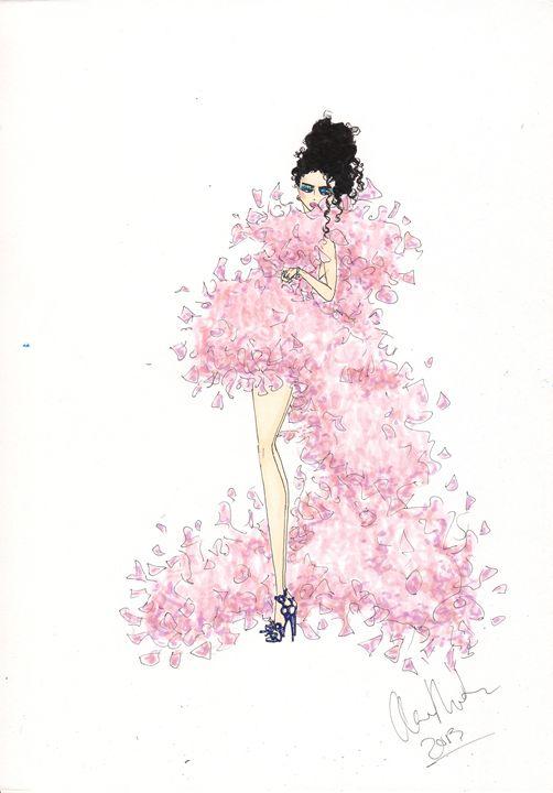 Pink Feathers Fashion Illustration - Alex Newton Fashion Art