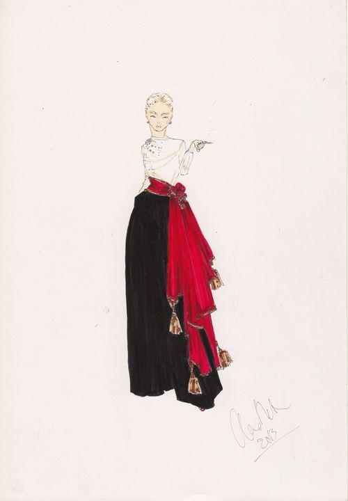 Red Scarf Fashion Illustration - Alex Newton Fashion Art
