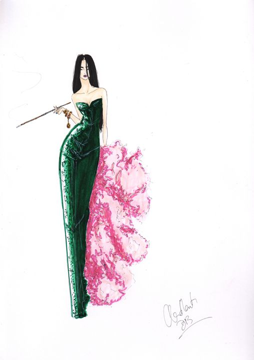 The Green Dress Fashion Illustration - Alex Newton Fashion Art