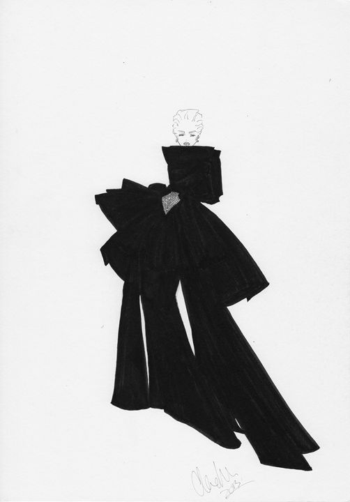 Black Bow Dress Fashion Illustration - Alex Newton Fashion Art
