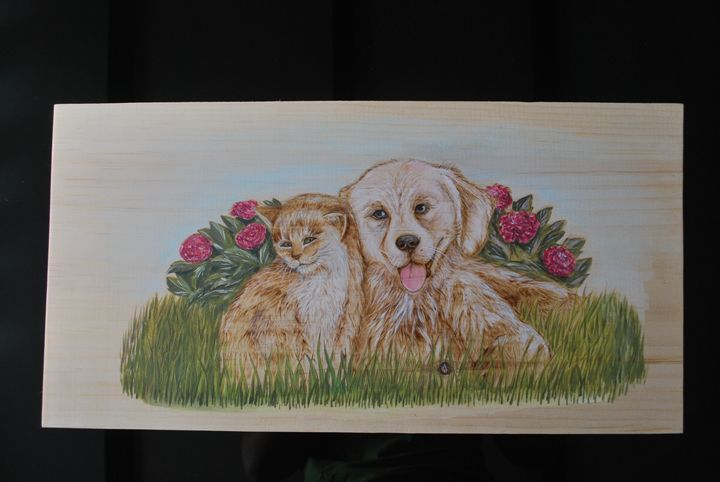 Picture of a dog and a cat on wood - Fire Pyrography