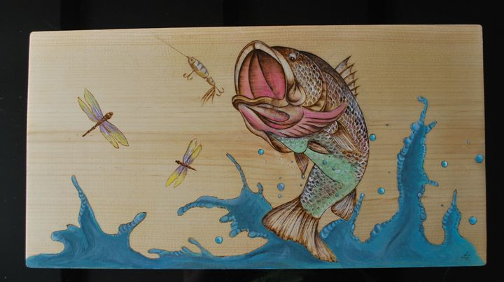 Wood burned picture of a bass fish - Fire Pyrography