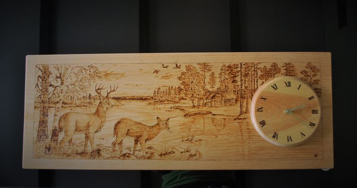 Wood burned clocks with deers - Fire Pyrography