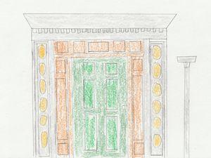Green Door with Brown & Gray Borders