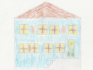 Blue House Drawn with Crayons